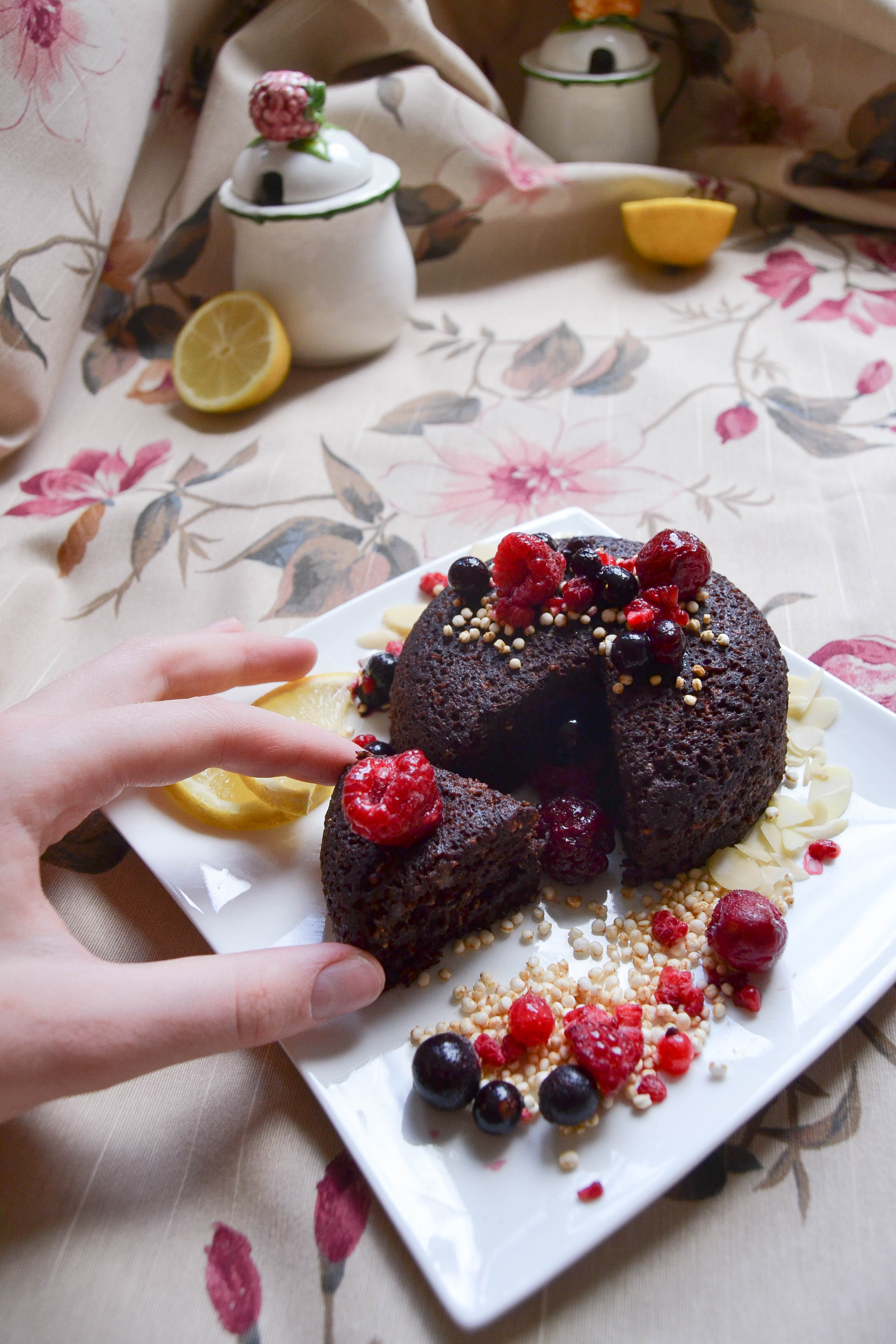 delicious chocolate mugcake with berries