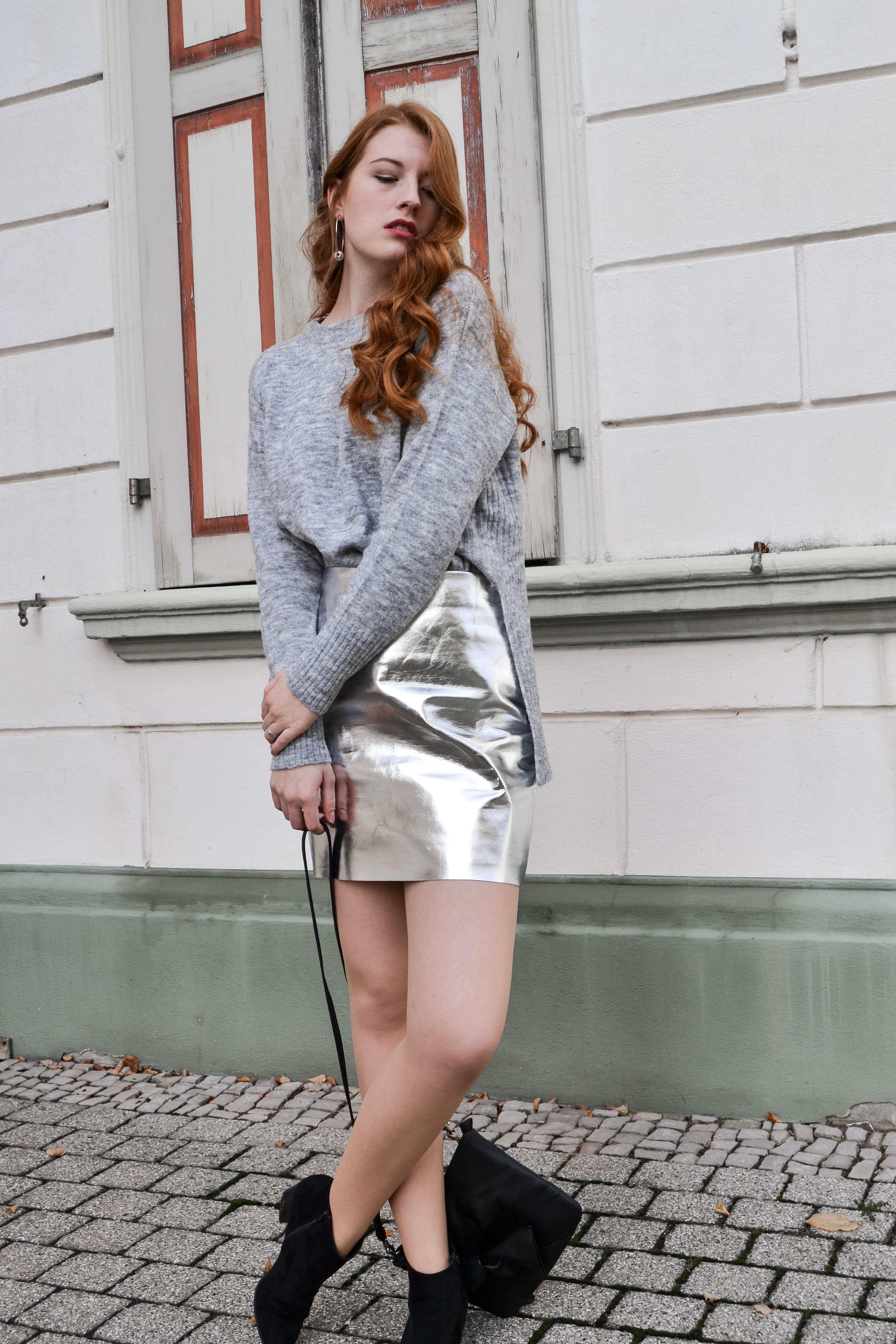 material mix metallic skirt grey jumper